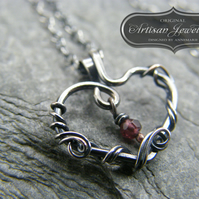 Sterling silver birthstone necklace, Garnet pendant, Heart birthstone necklace
