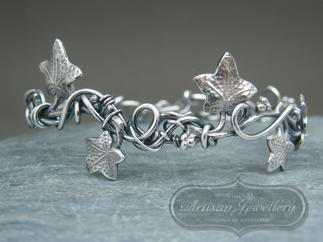 Adjustable sterling silver ivy leaf bangle