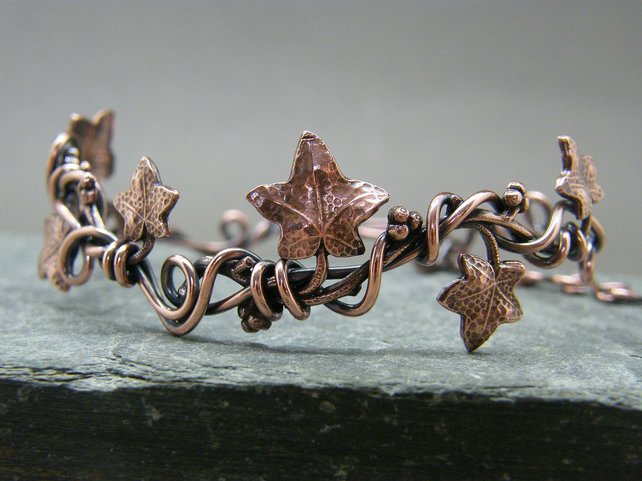 Ivy leaf adjustable bangle, Adjustable copper bracelet, Leaf jewellery, Copper