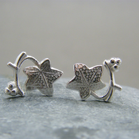 Leaf earrings,  Silver studs,  Sterling silver leaf studs, Ivy leaf studs
