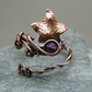 Adjustable amethyst ivy leaf ring, Copper leaf ring