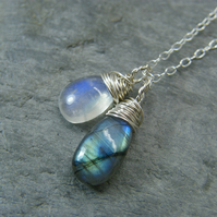 Sterling silver moonstone and labradorite simple wire wrapped necklace