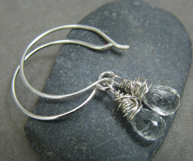 Sterling silver, aquamarine, March birthstone wire wrapped drop earrings