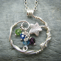 Sterling silver family birthstone pendant with ivy leaves and swarovski crystals