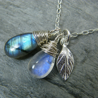 Sterling silver labradorite and moonstone leaf pendant necklace
