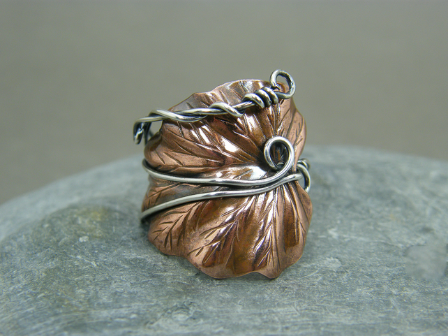 Adjustable copper leaf ring with sterling silver band