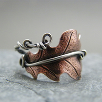 Adjustable copper and silver oak leaf ring, Mixed metal statement ring