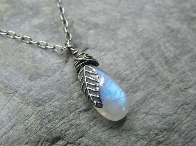 Sterling silver, blue moonstone, dainty leaf pendant necklace