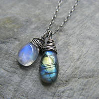 Sterling silver blue moonstone and rainbow labradorite mixed gemstone necklace