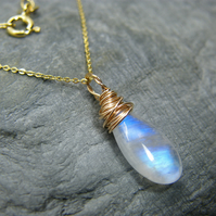 9ct gold, dainty blue moonstone necklace pendant