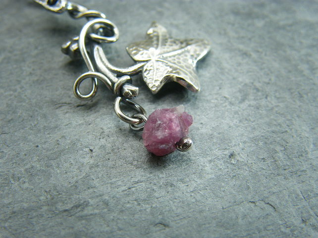 Sterling silver ivy leaf necklace with ruby crystal gemstone