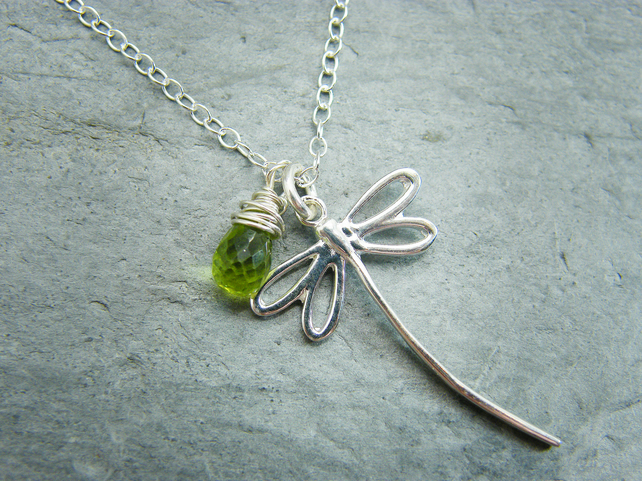 Sterling silver peridot necklace with dragonfly
