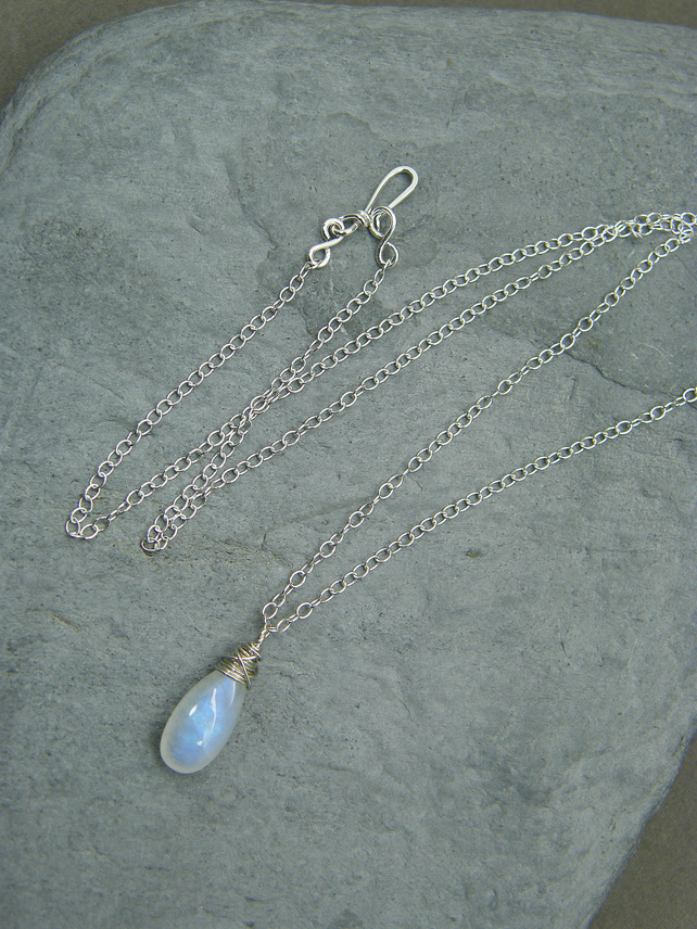 Moonstone necklace, Sterling silver, single  blue moonstone wire wrapped pendant