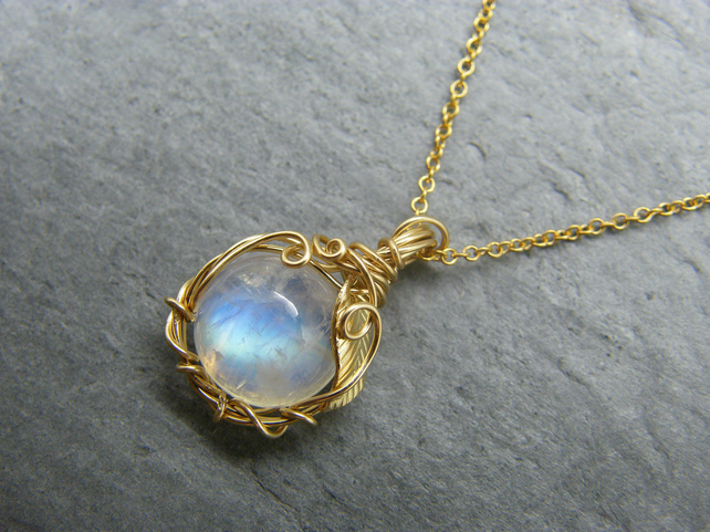 Gold filled moonstone leaf pendant - necklace