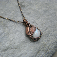 Moonstone necklace, Copper moonstone necklace with leaf details