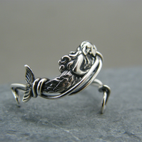 Adjustable sterling silver mermaid ring
