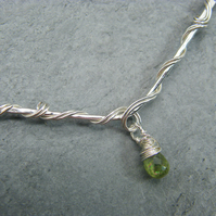 Sterling silver chevron necklace with peridot gemstone