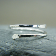 Simple adjustable sterling silver ring, Hammered open design