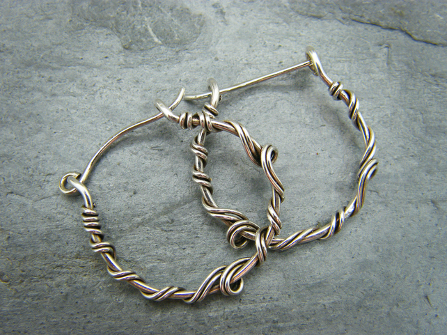 Sterling Silver Vine Style Hoop Earrings