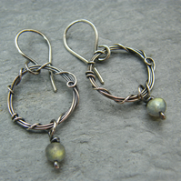 Antique sterling silver, unique labradorite hoop earrings