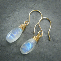 9ct Gold Blue Moonstone Drop Earrings with Handmade ear wires