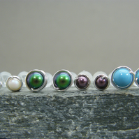 Sterling silver birthstone stud earrings, Swarovski pearl stud earrings