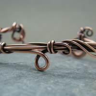 Chunky antique copper wire wrapped bangle