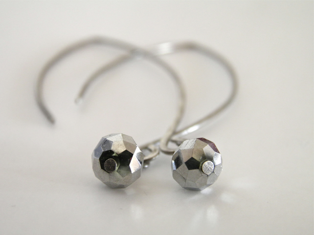 Metallic Silver Grey Minimal Earrings S A L E