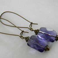 Purple Earrings Antiqued Long