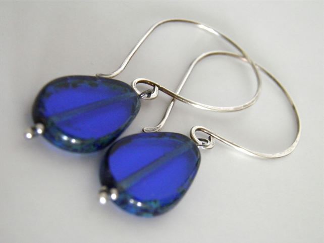 S A L E Sterling Silver Blue Earrings