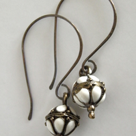 Oxidised Sterling Silver White Earrings