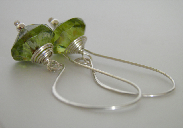 Peridot Green Sterling Silver Earrings S A L E