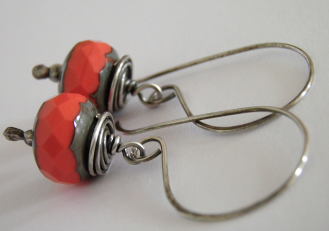 Sterling Silver Orange Earrings S A L E