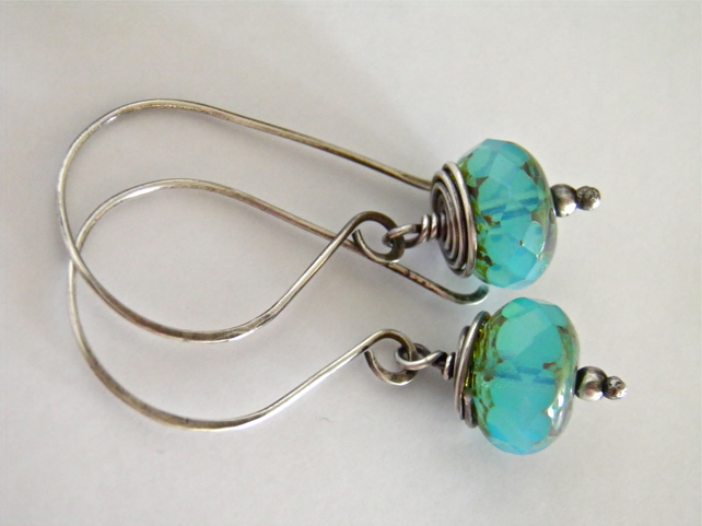 Aqua Blue Earrings Sterling Silver Earrings Turquoise Earrings