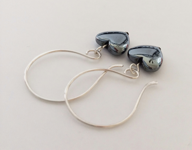 Haematite Heart Earrings