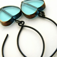 Aqua Turquoise Heart Earrings
