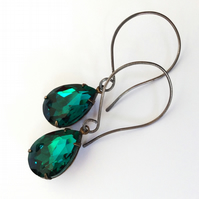 Emerald Green Sterling Silver Earrings