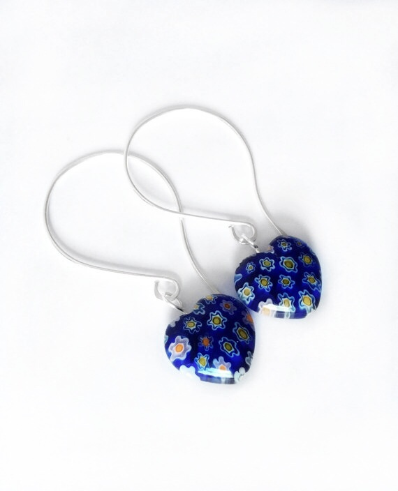 Blue Millefiori Earrings S A L E