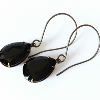 Black Earrings Sterling Silver