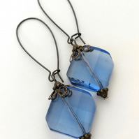 Light Blue Antique Brass Earrings