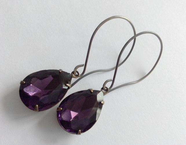Deep Purple Sterling Silver Earrings