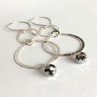 Long Sterling Silver Hoop Earrings
