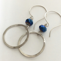 Silver Hoop and Metallic Blue Drop Earrings