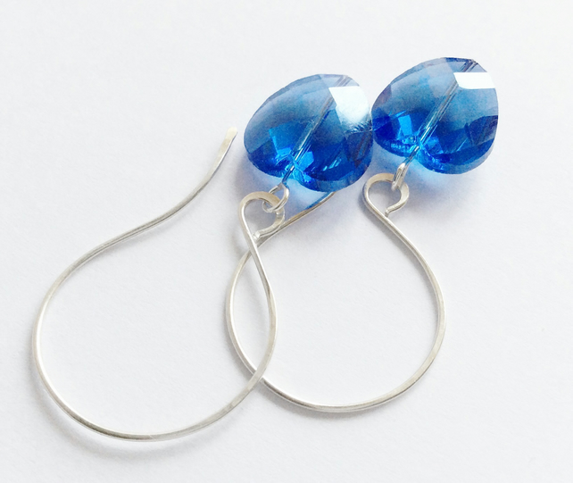 S A L E Blue Heart Earrings Sterling Silver