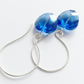 Blue Heart Earrings Sterling Silver
