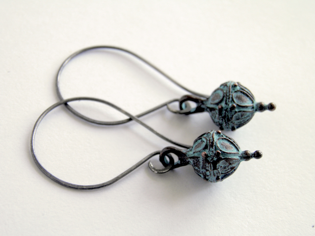 Oxidised Sterling Silver Verdigris Earrings