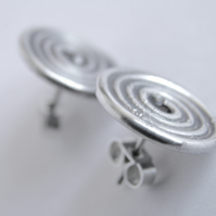 Chunky Sterling Silver Spiral Post Earrings