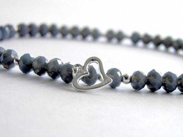 Silver Heart Ankle Bracelet with smokey Grey Beads