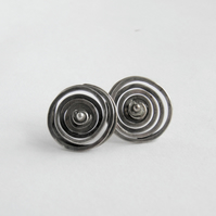 Silver Spiral Earrings - Post