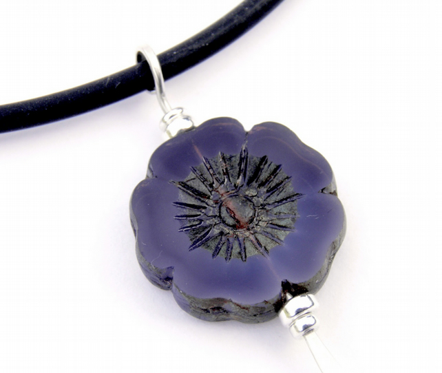 Purple Flower Necklace Sterling Silver & Black Rubber.